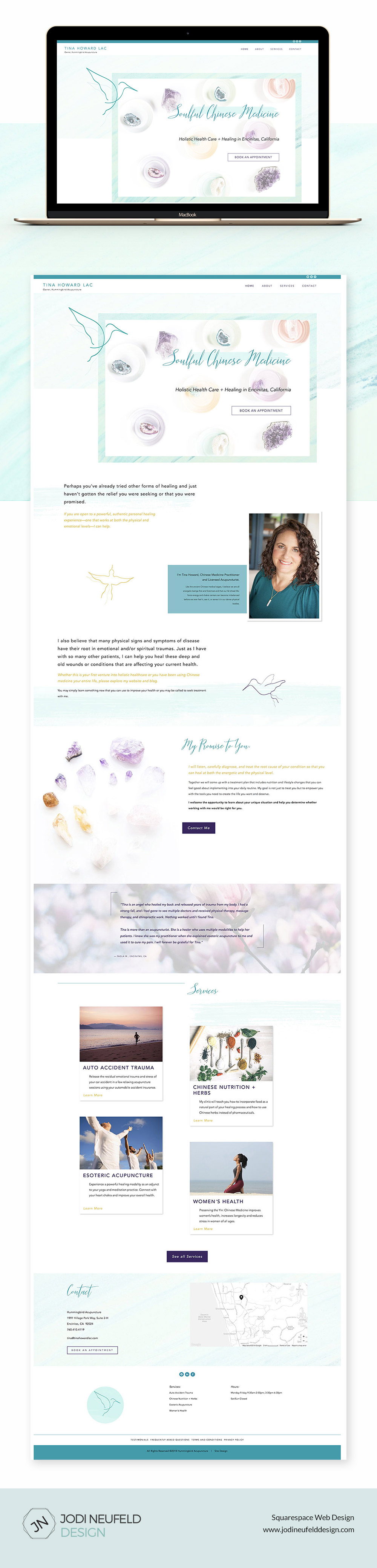 Tina Howard home page website design   Squarespace website design by Jodi Neufeld Design