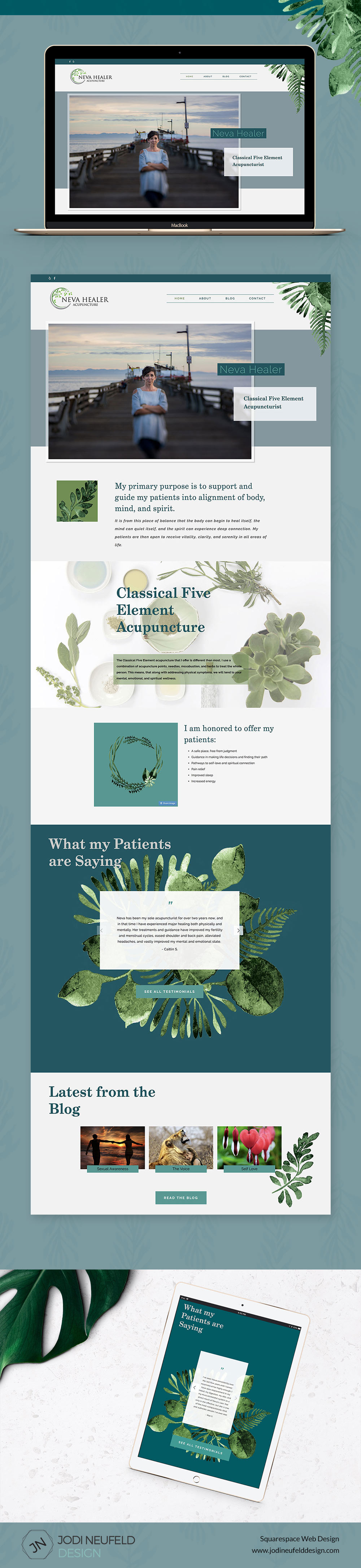 Neva Healer Squarespace website design by Jodi Neufeld Design