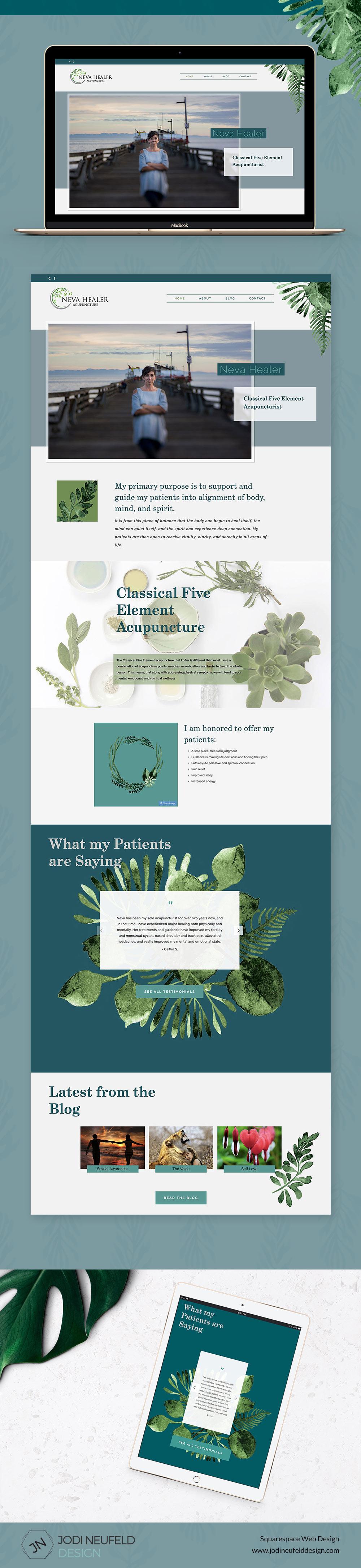Neva Healer Squarespace website design by Jodi Neufeld Design