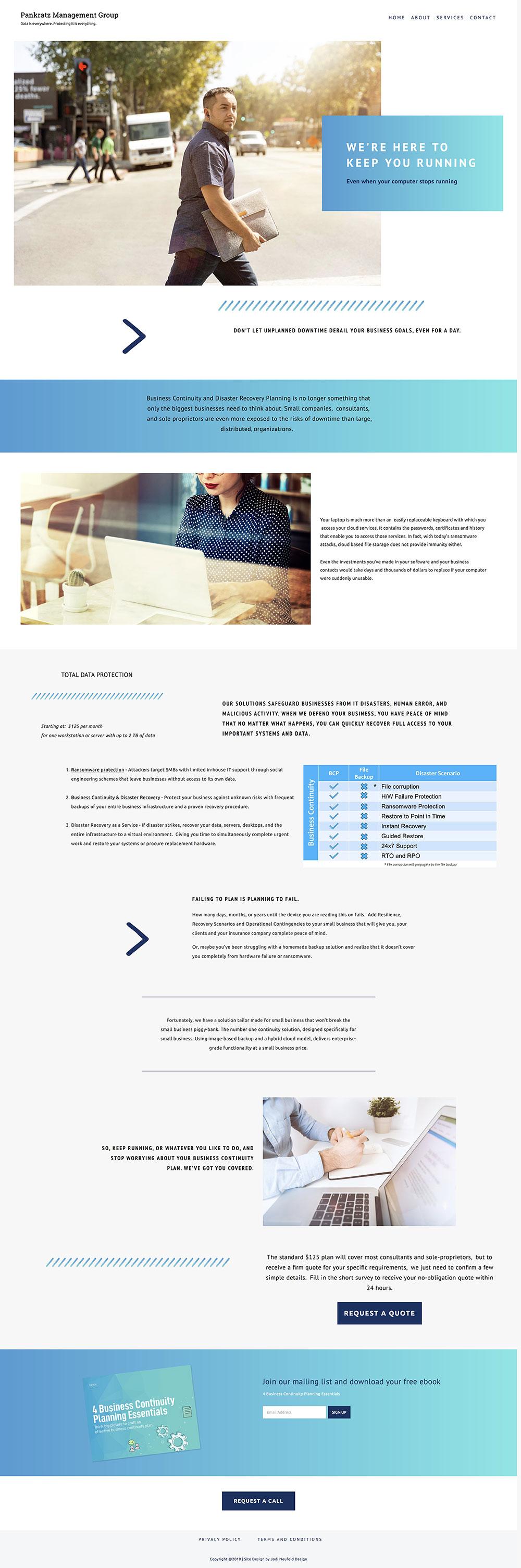 Pankratz Management Services page | Squarespace website design by Jodi Neufeld Design