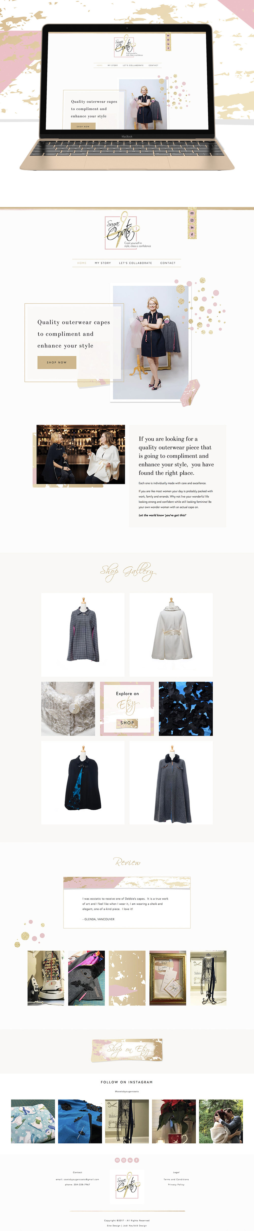 Sugar Coats home page website design | Squarespace website design for Etsy clothing seller by Jodi Neufeld Design