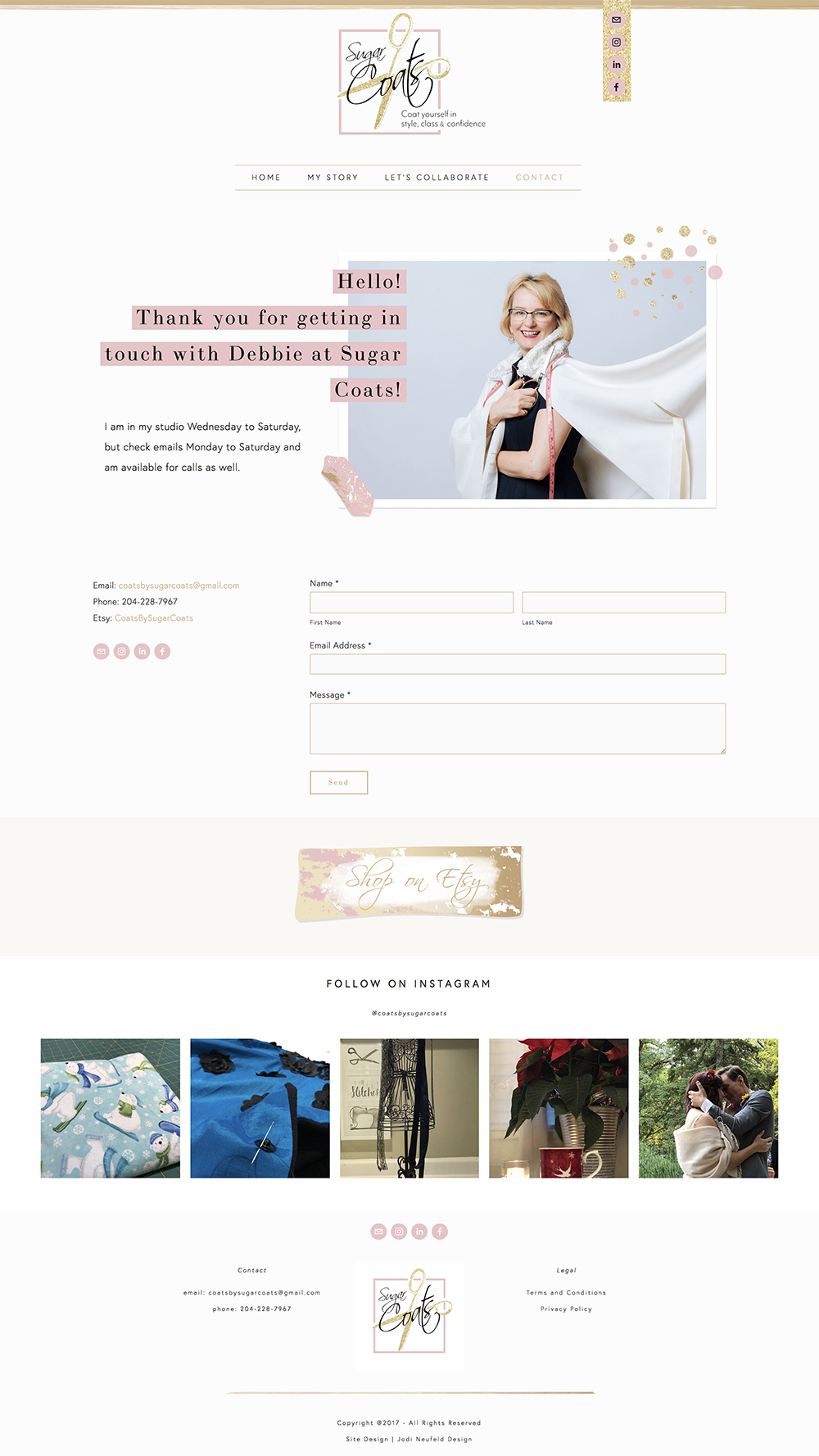 Sugar Coats contact page | website design by Jodi Neufeld Design