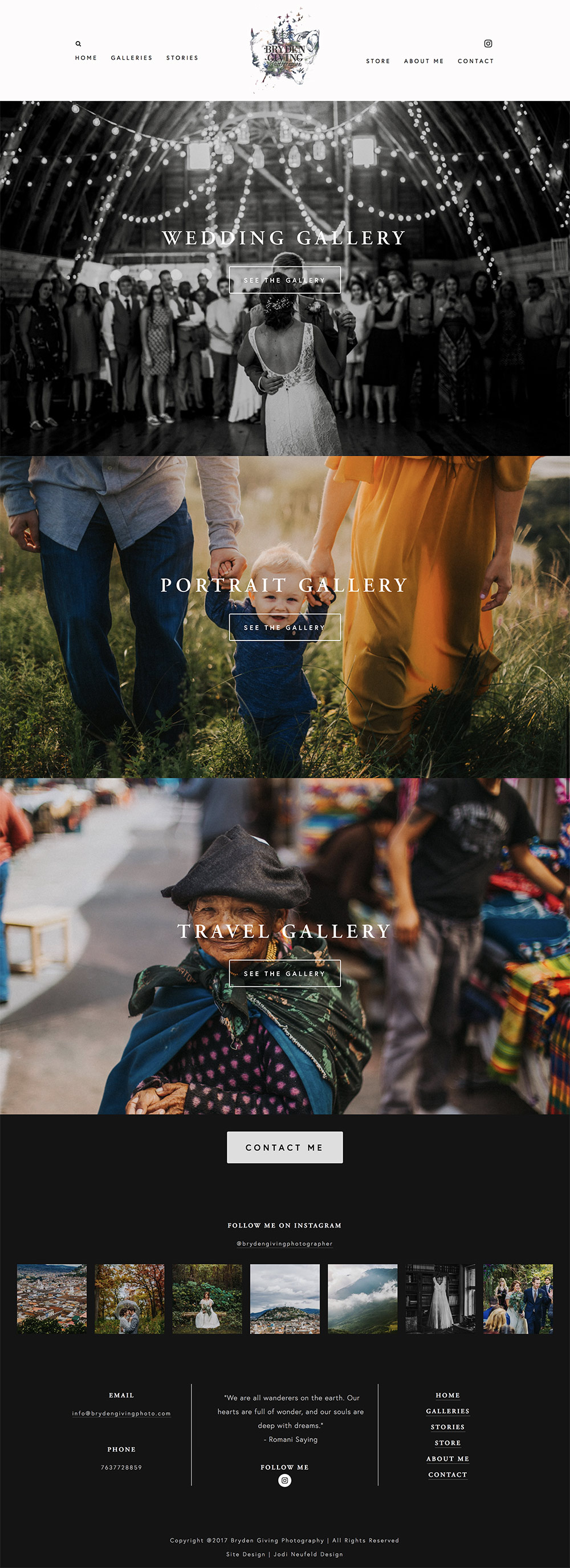 Bryden Giving Photographer Galleries page | custom Squarespace webdesign for Photographer | Jodi Neufeld Design