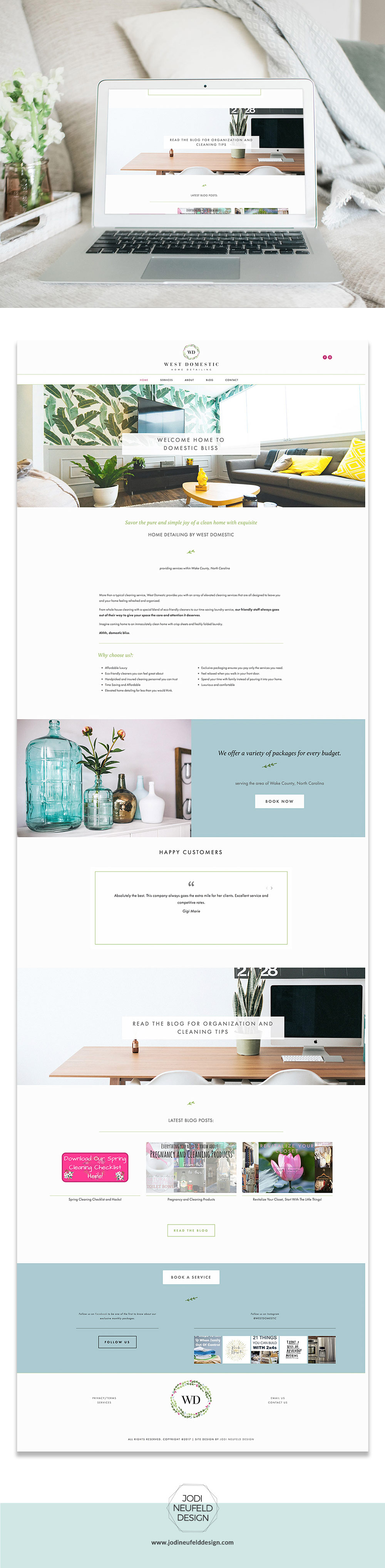 West Domestic Website design | Home page | Squarespace webdesign by Jodi Neufeld Design