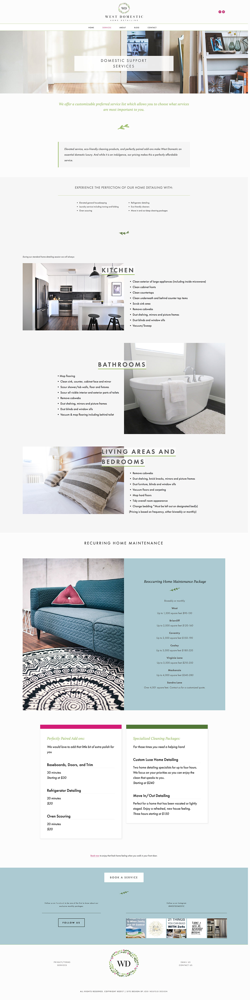 West Domestic | Services page | Squarespace webdesign by Jodi Neufeld Design