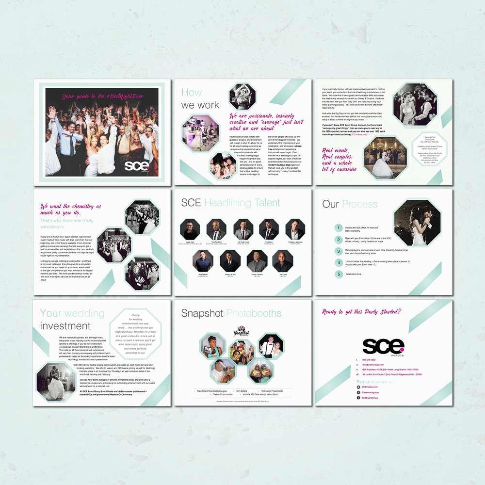 SCE event group marketing brochure | design by Jodi Neufeld Design