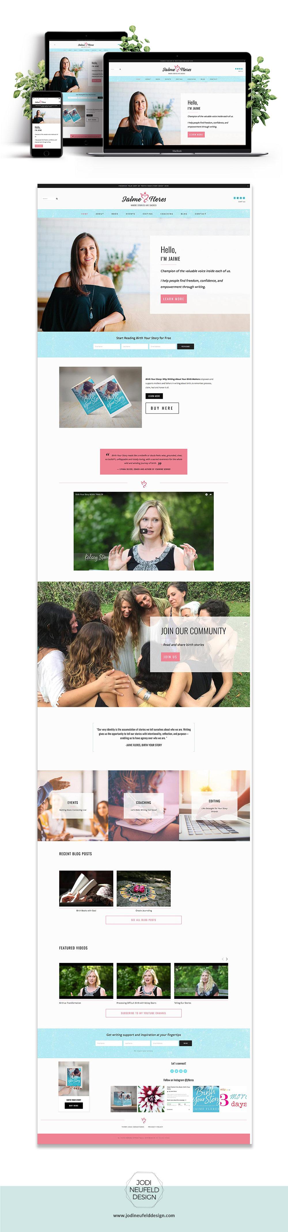 Jaime Fleres website | Squarespace web design by Jodi Neufeld Design