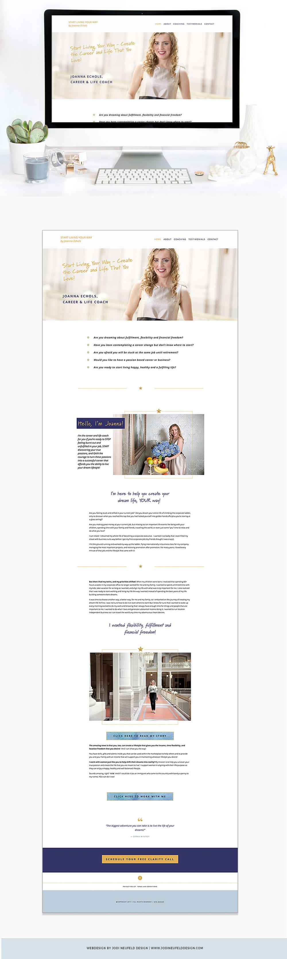 Joanna Echols home page web design | Squarespace web design | Jodi Neufeld Design