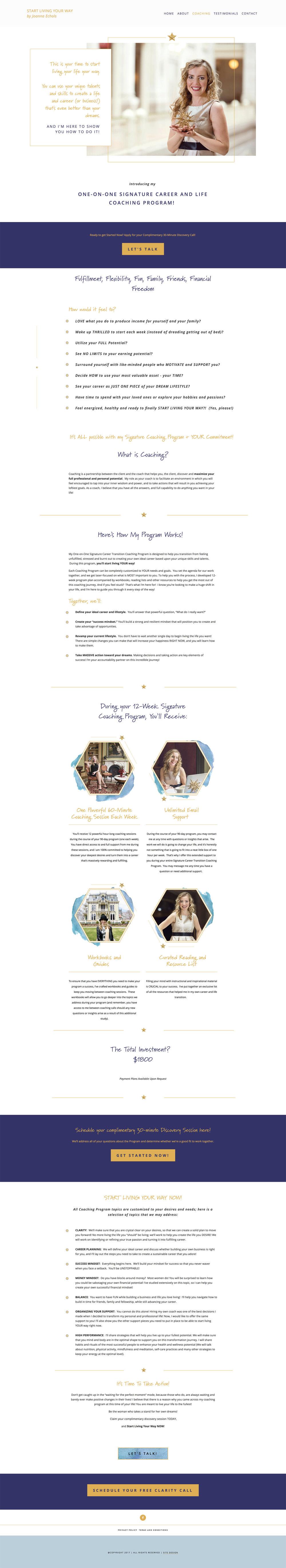 Joanna Echols Coaching page | Squarespace web design | Jodi Neufeld Design