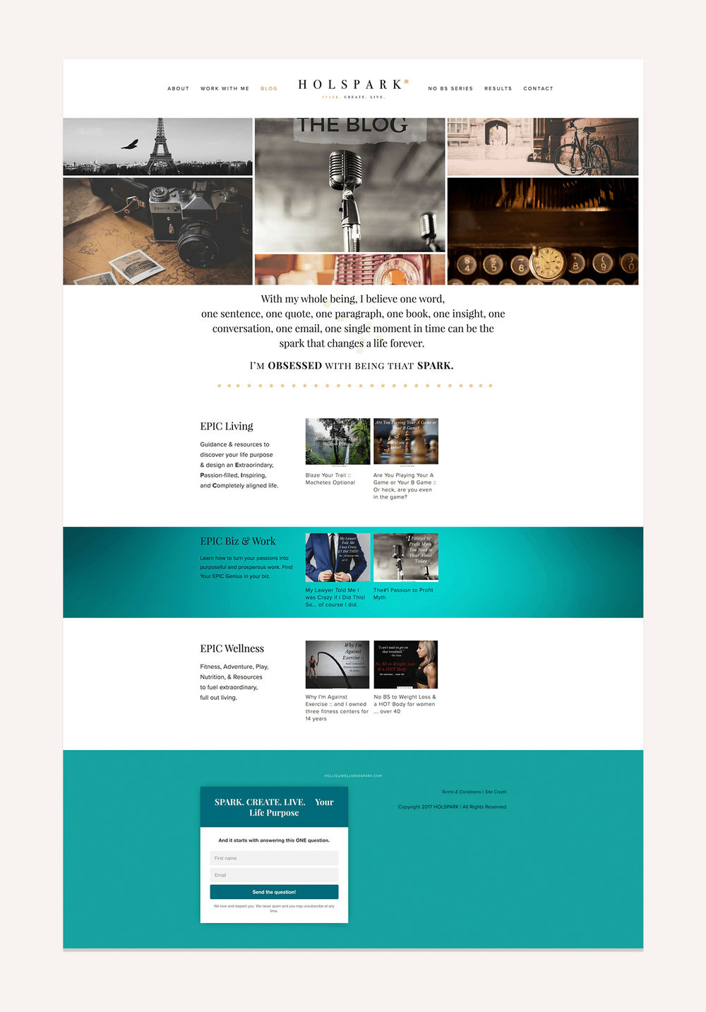 HOLSPARK Blog page | Squarespace web design | Jodi Neufeld Design