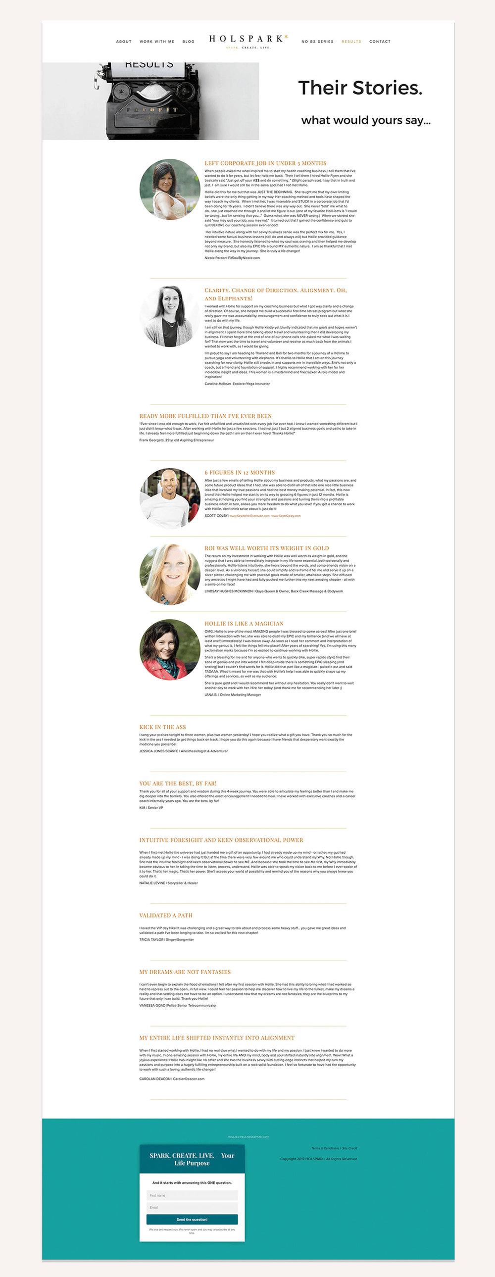 HOLSPARK Results page | Squarespace web design | Jodi Neufeld Design