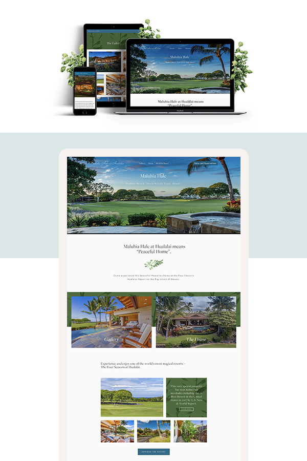 Maluhia Hale Squarespace website design by Jodi Neufeld Design