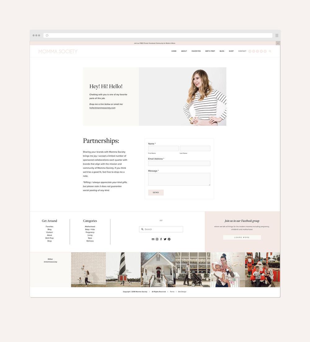 Momma Society Contact page   #squarespace web design by Jodi Neufeld Design #webdesign