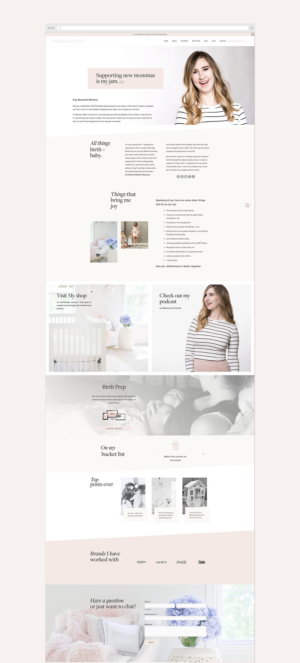 About Mandy page   Momma Society Squarespace website by Jodi Neufeld Design