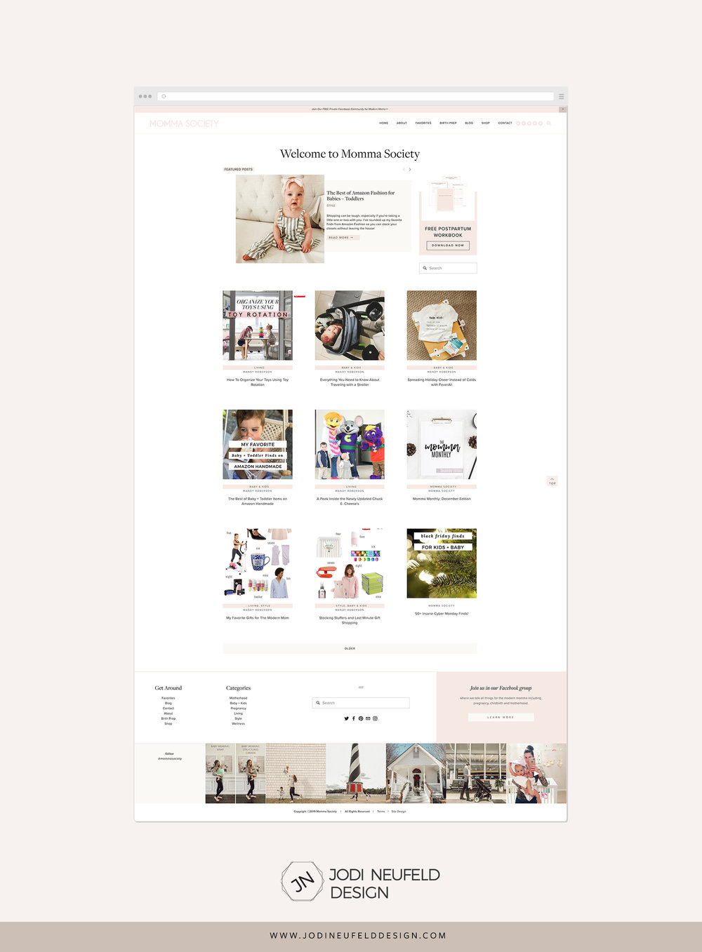Momma society blog page   Clean and minimal Squarespace web design