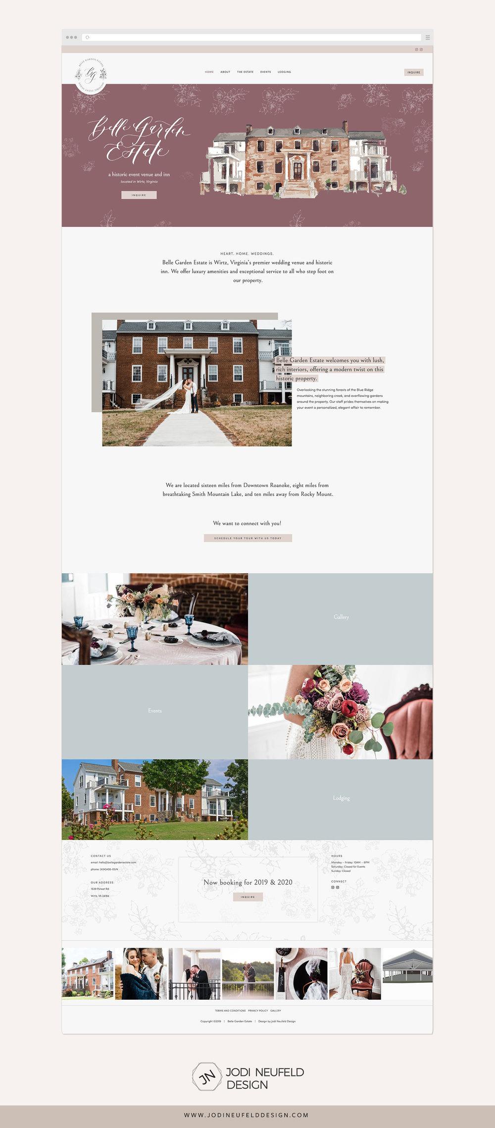 Belle Garden Estate home page   Squarespace web design by Jodi Neufeld Design #squarespace #wedding #webdesign #feminine