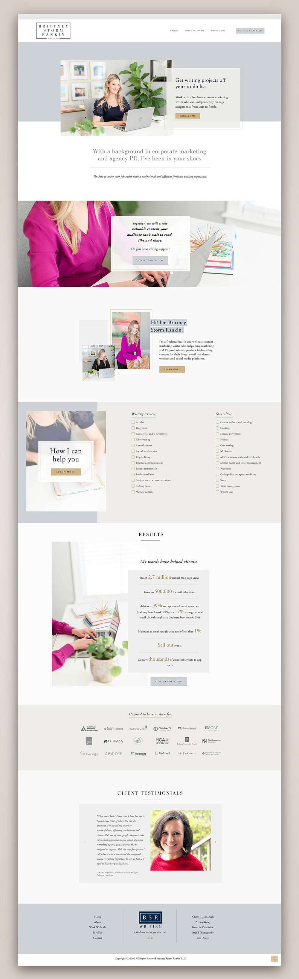 Brittney Storm Rankin Writing Home page | Squarespace web design by Jodi Neufeld Design #squarespace #writerwebsite #webdesign #feminine