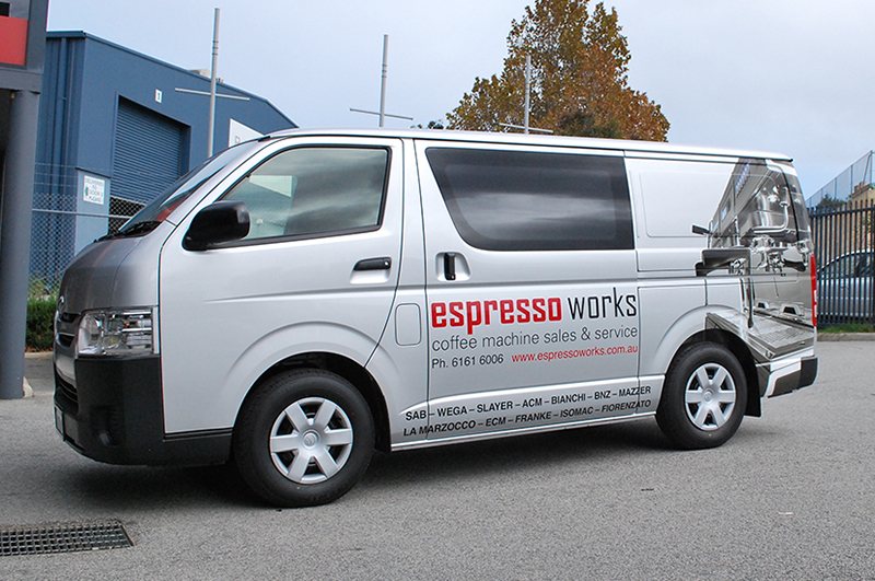 Digitally printed vehicle decals with large scale graphic.
