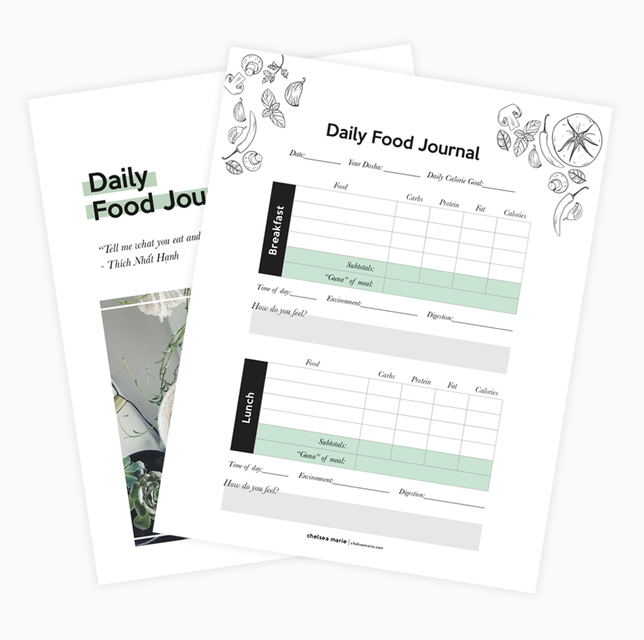 "Download the Daily Food Journal - Track calories, macros, Ayurvedic ""Gunas"", and reflect on how food makes you feel physically and mentally."