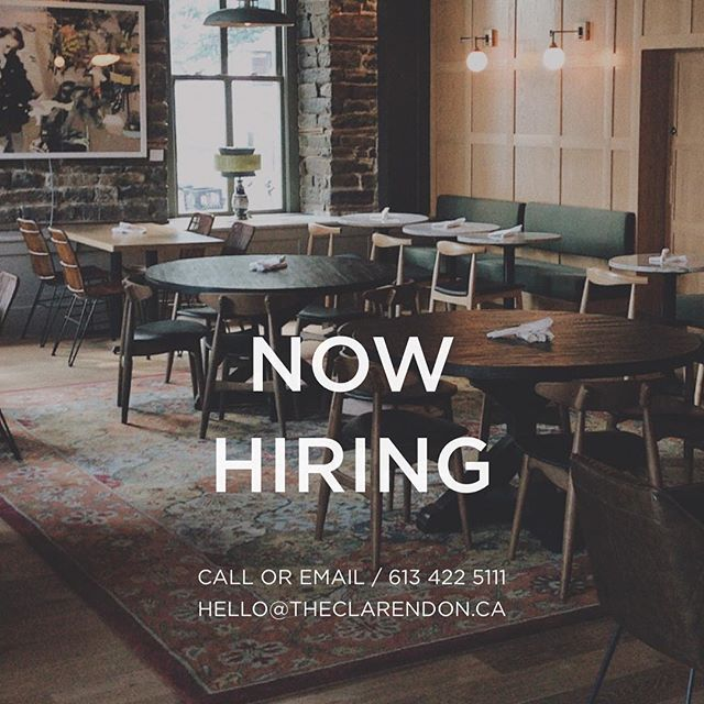 We are looking to expand our team here at the Clarendon! If you're an outgoing, detail oriented , hard-working individual we can't wait to meet you! #seeyouattheclarendon 📷: @ericvancestudio  ______________________________________  To Apply please drop off a resume in person or email Rebekah@theclarendon.ca