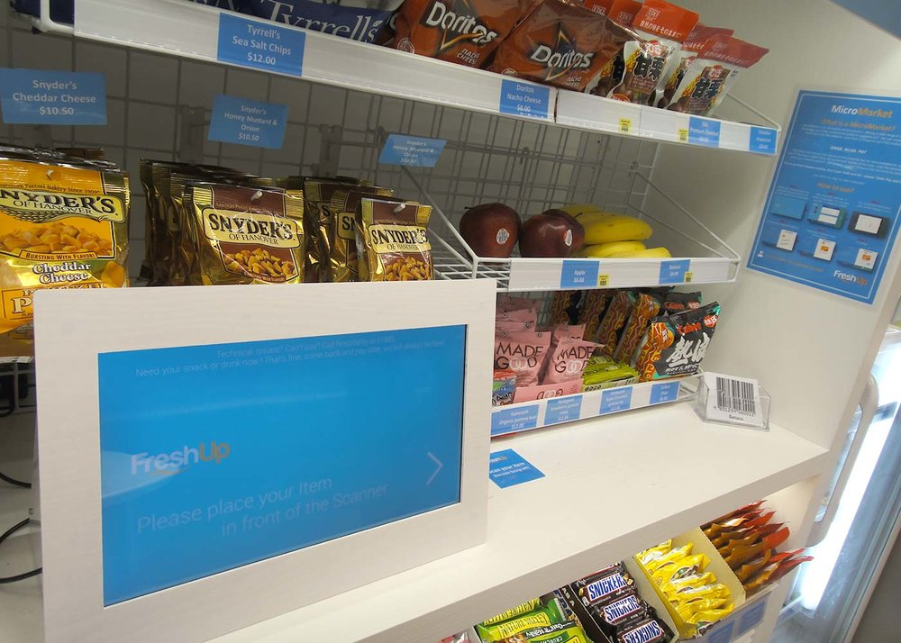FreshUp, micromarket, vending machine, snacks, beverages, fast, convenient, smart, self-served, office pantry