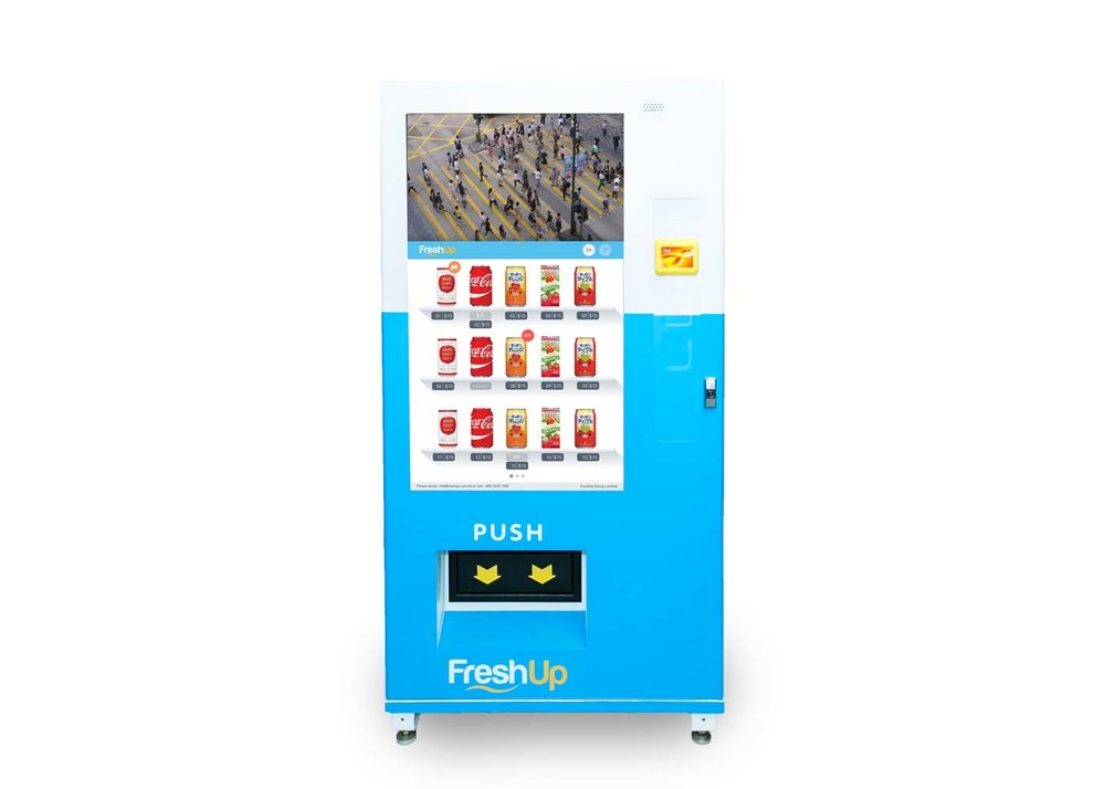 "FreshUp, vending machine, snacks, beverages, vending machine hong kong, smart vending machine, front view vending machine,  50"" Touch LCD"