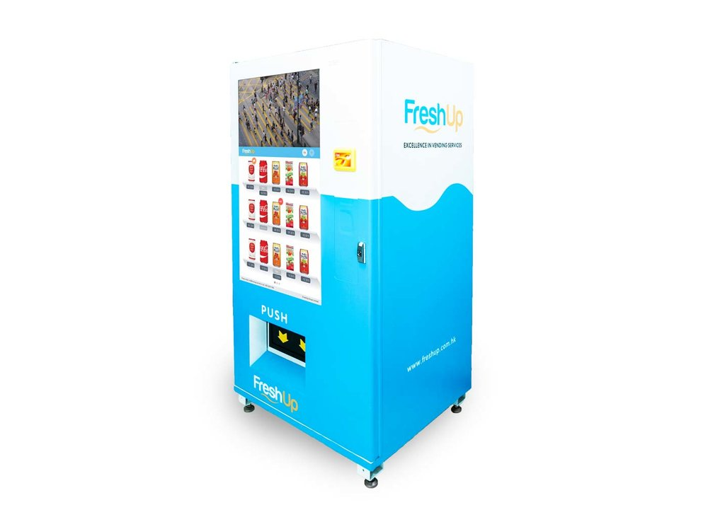 "FreshUp, vending machine, snacks, beverages, smart, LCD, 50"" Touch LCD"