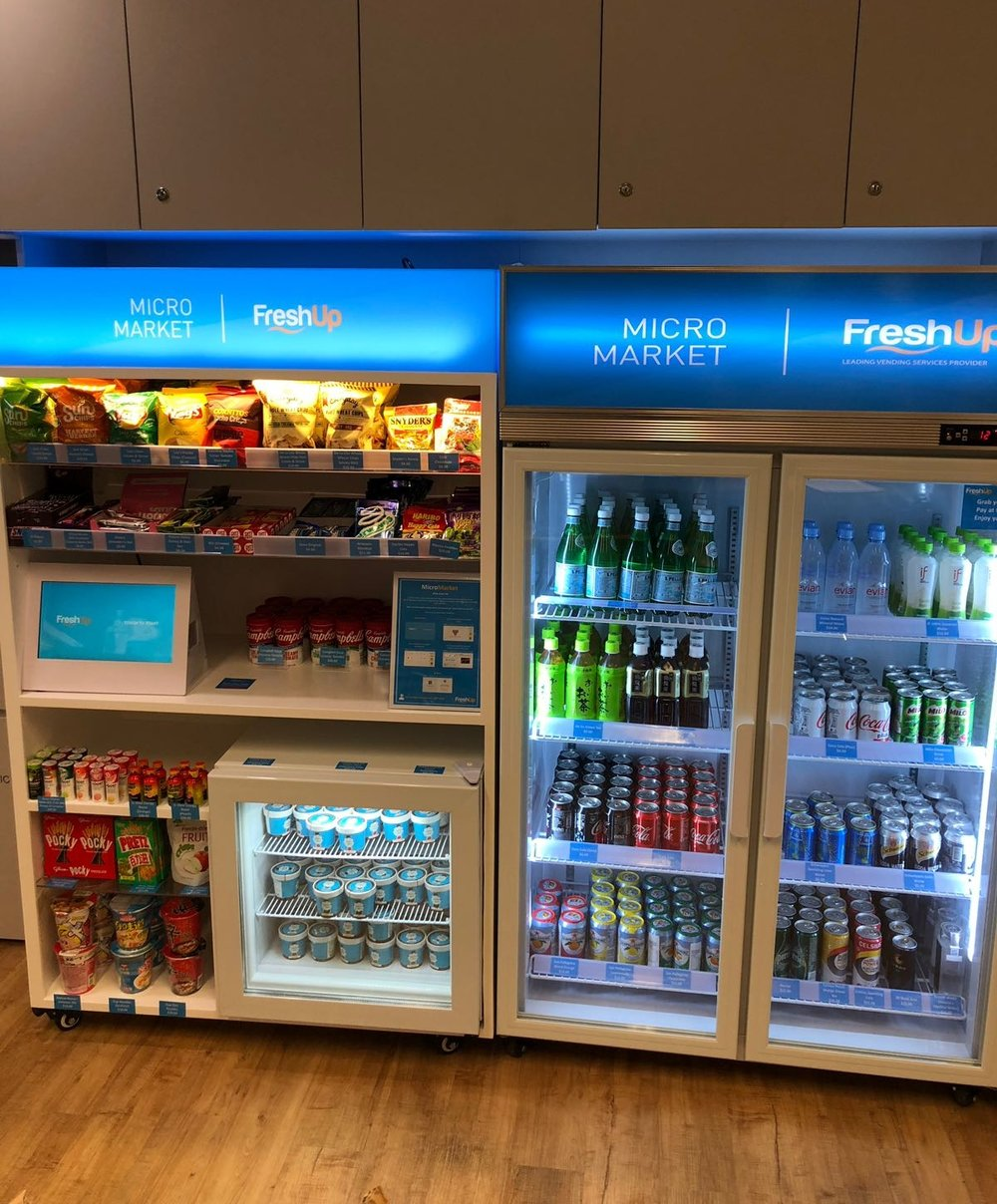 Freshup, vending machine hk, interactive, food, beverage, smart retail, convenient, vending services, professional, investment banks, societe generale, micromarket, self-served
