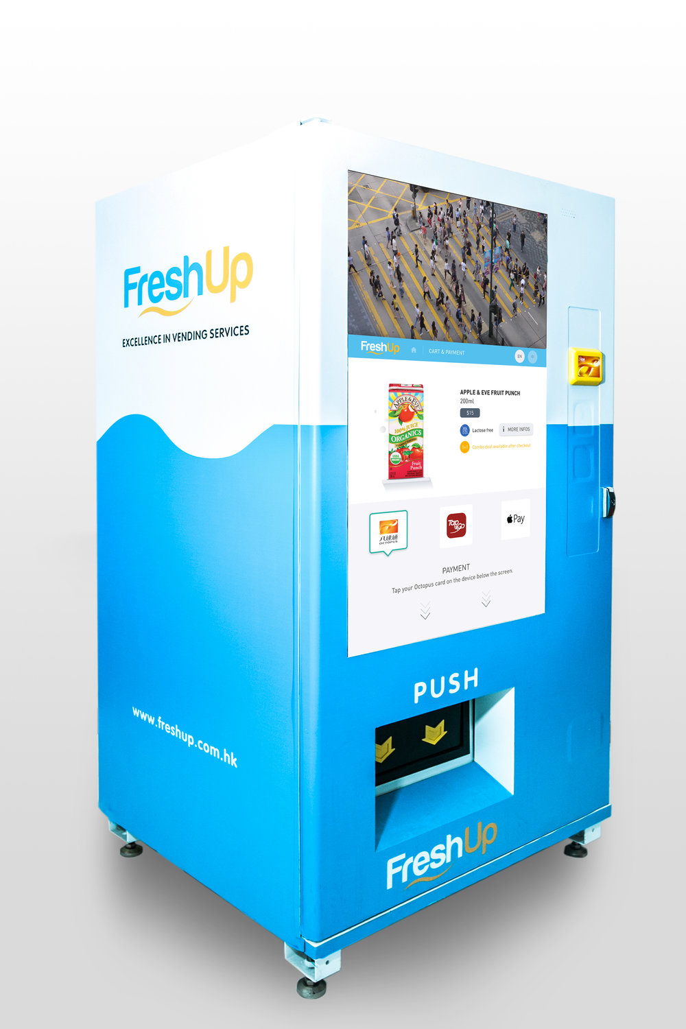 vending machine, FreshUp, LCD, snacks, beverages