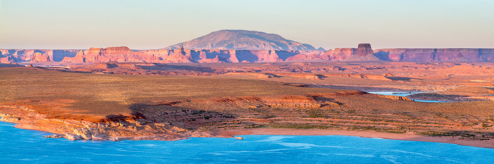 View of Navajo Mountain and Lake Powell from Wahweap Overlook.