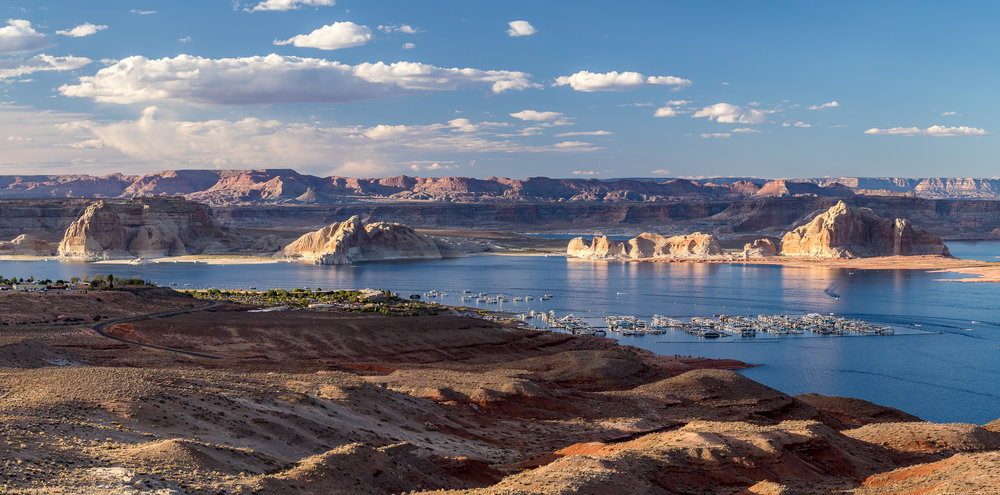 View of Wahweap Marina and Lake Powell from Wahweap Overlook.