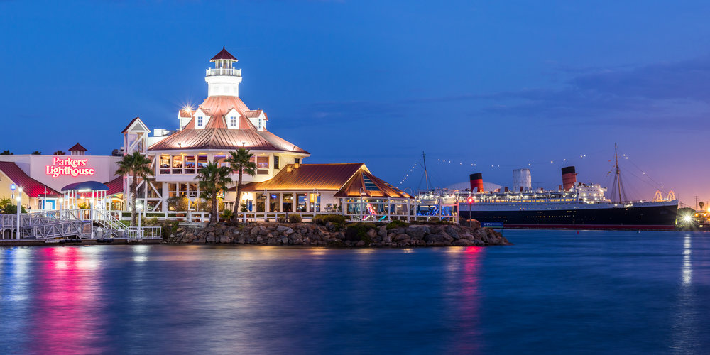Two iconic Long Beach landmarks: Shoreline Village and RMS Queen Mary. This is a panoramic-stitch.
