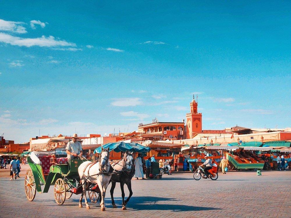 Ankunft in Marrakesch - Nichts, was ich bisher in Europa gesehen habe, lässt sich auch nur annähernd mit der Atmosphäre in der Medina, der Altstadt von Marrakesch, vergleichen. Man fühlt sich, als wäre man in einer anderen, früheren, Zeit angekommen. Am dort größten und berühmtesten Platz, dem Djemaa el Fna, erlebten wir erstmals einen Kulturschock: Schlangenbeschwörer, Geschichtenerzähler, Handleser, Orangensaft-Verkäufer und Frauen, die einem ungewollt Henna auf den Handrücken malen. Alle zwei Minuten wird man beinahe von einem Esel niedergetrampelt – das nicht vorhandene Verkehrssystem und die engen, überfüllten Gassen waren für uns etwas gewöhnungsbedürftig.