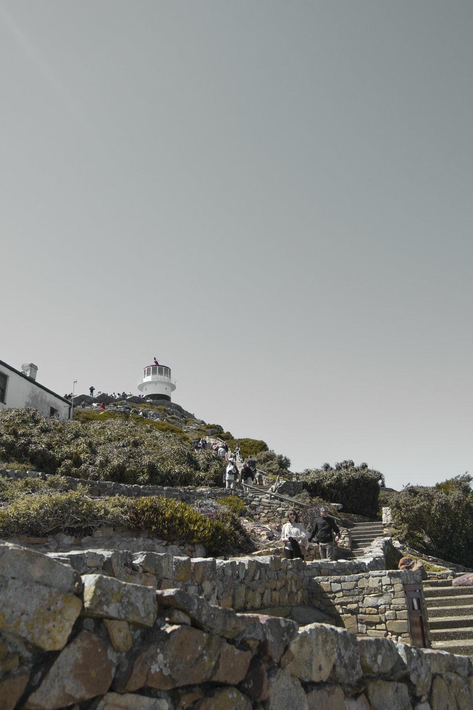 Der südlichste Zipfel Afrikas - Oben angekommen zahlten wir den Eintritt, suchten uns einen Parkplatz (leider in der Sonne) und spazierten bis zum Beginn der Treppen zum Cape Point.Je nach Lust und körperlicher Fitness kann man entweder die umweltfreundliche Seilbahn, die den klingenden Namen