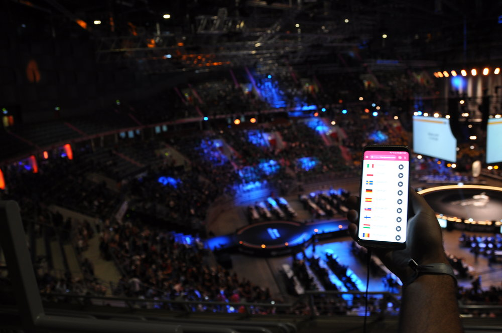 Inside the arena and auXala running on a smartphone