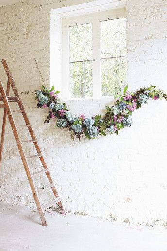 A DIY Hydrangea Flower Garland via Wedding & Wedding Flowers