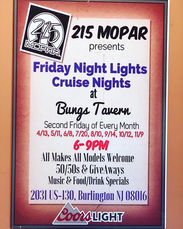 Join Us Tonight for Friday Night Lights Cruise Nights @btrestaurant_tavern  6-9pm!!! #215mopar #CarShow #GreatFood #GreatBeer #GreatTime@BT