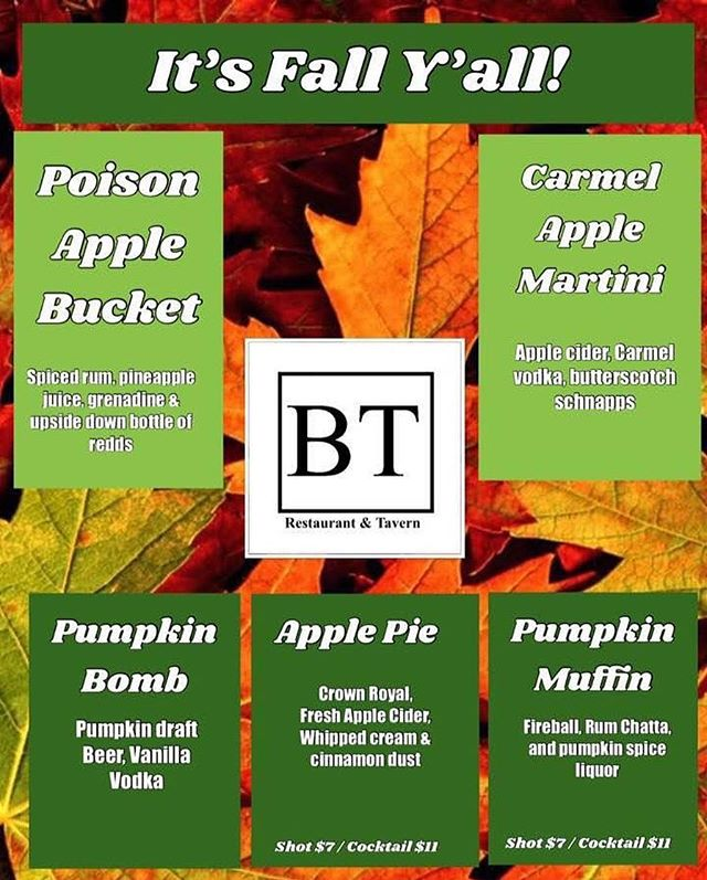 Come in today and try our new fall drinks 🍹🍸🍺 #PoisonAppleBucket #CarmelAppleMartini #PumpkinBomb #ApplePie #PumpkinMuffin