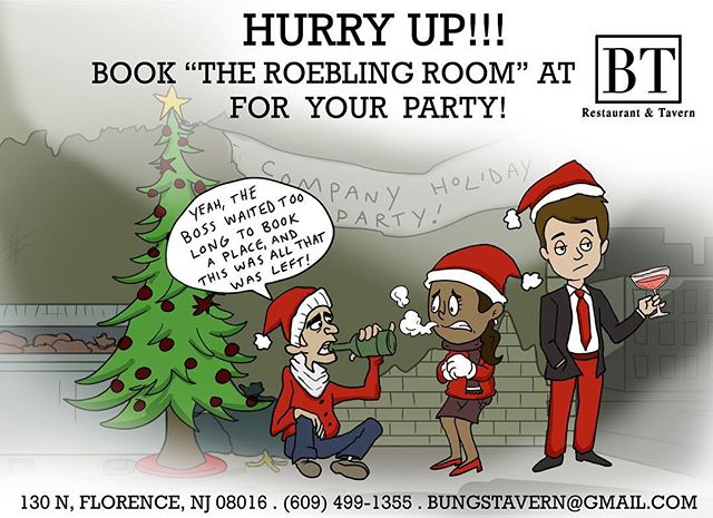 Booking Holiday Parties now in The Roebling Room @btrestaurant_tavern #ChristmasParty #BanquetRoom #Catering #HolidayParty #JoinUsAtBT