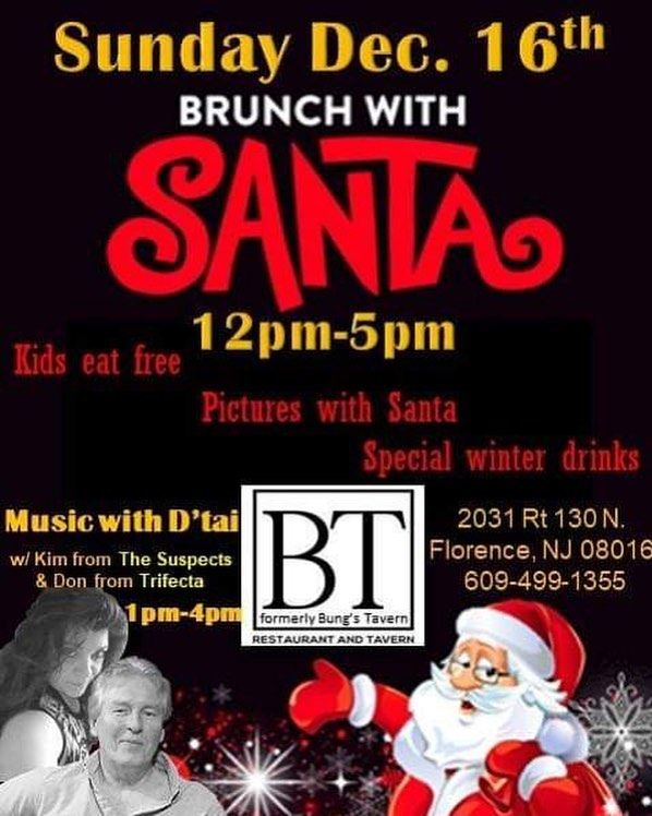 Join us for brunch with Santa on Dec 16th!!! Kids eat free Take pictures with Santa and enjoy a great holiday event!! Featuring Live Music!!! #SantaPictures #LiveMusic #HolidayEvent #GreatFood #GreatDrinks