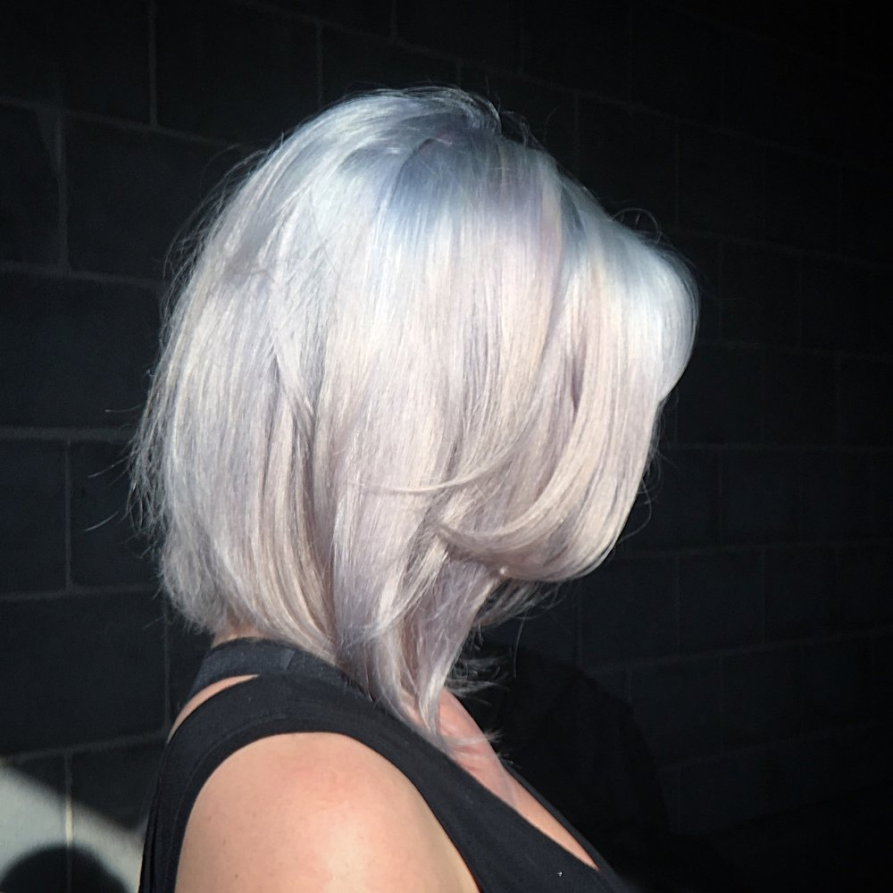 BLUE PASTEL ROOTED IN Snow White BLONDE. GLOSSED WITH KISSES OF PURE LAVENDER, LIKE THE KIND YOU SEE IN SUNSETS...