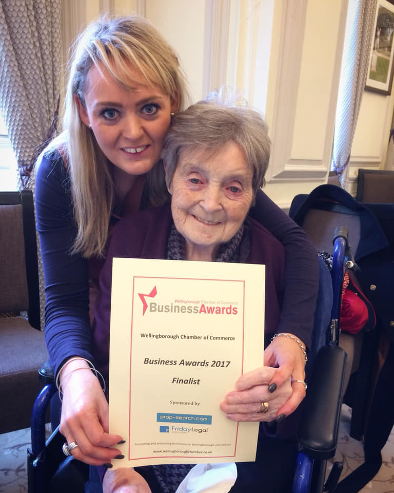 Wellingborough Chamber of Commerce Business Awards FINALIST. - Founder of Golden Years, Meg Neilan and her grandmother Kitty Neilan who is also the Ambassador and inspiration behind Golden Years, were proud to be invited to the Wellingborough Chamber of Commerce Business Awards at Harrowden Hall in November 2017, just six months after launching Golden Years.