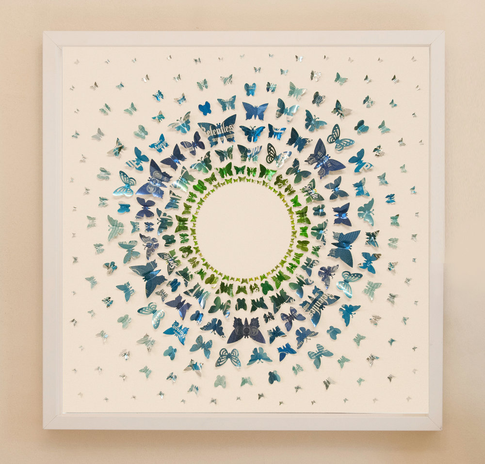 60cm x 60cm, Green - Blue Circles