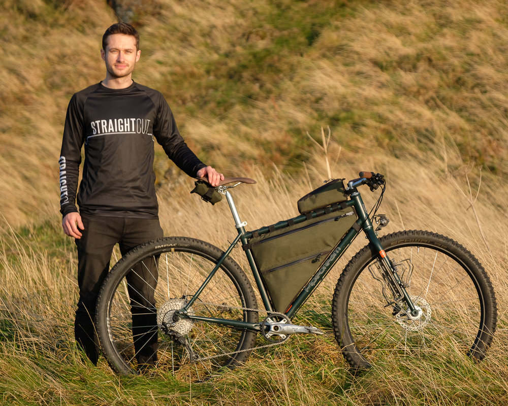 Brand Ambassador - Euan Camlin   full time mechanic at the bicycle works in edinburgh and highly skilled photographer running Euan Camlin photography.   Bike  - Pipedream a.l.i.c.e.   Straight cut products  - custom full frame bag, top tube bag and tool roll.   www.euancamlin.co.uk