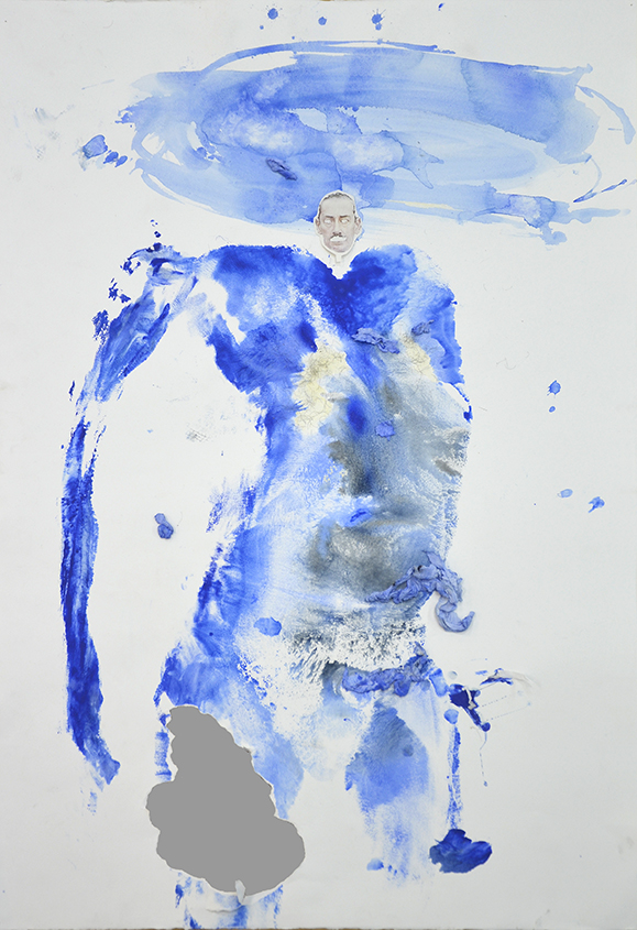 Bodies Politic VIII , acrylic, water-colour, transfer print, toilet paper on cut paper