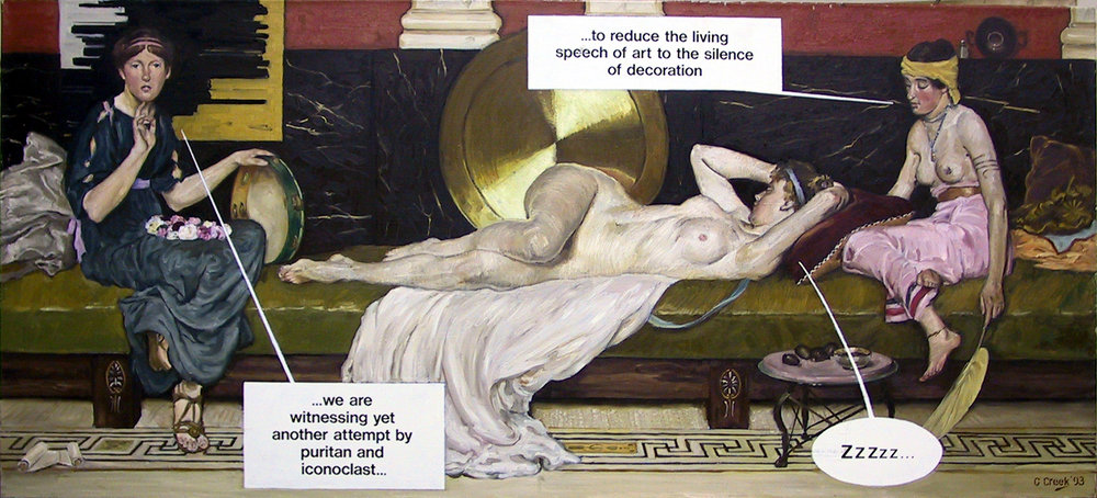 Antipodean pillow-talk,  oil on linen 64.0 x 141.0cm (variation after Charles Blackman, Robert Dickerson, David & Arthur Boyd, Clifton Pugh, John Brack, John Perceval and Dr. Bernard Smith and Lindsay Bernard Hall)