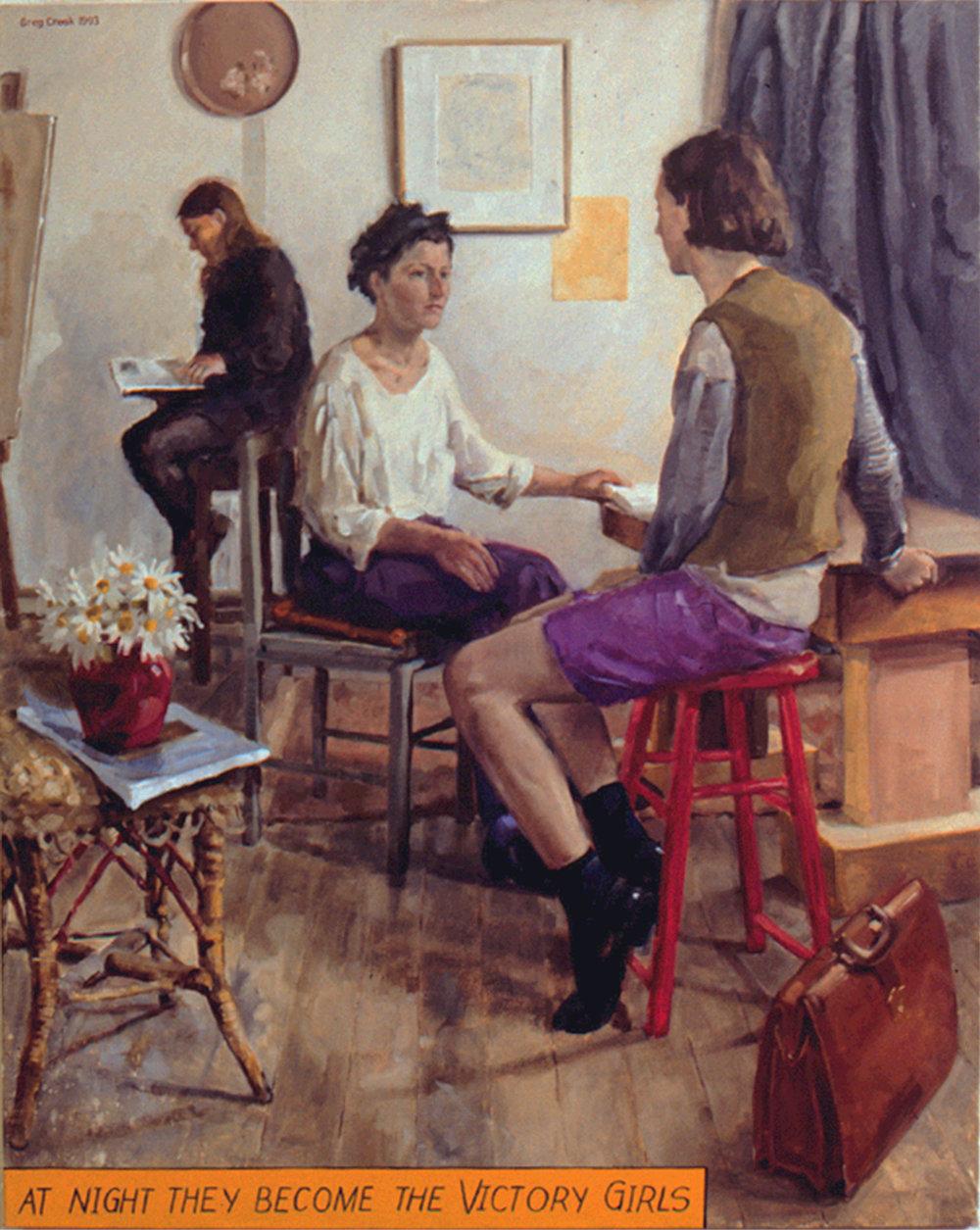 Studio Interiors,  oil on linen 148.3 x 118.2cm (variation after Albert Tucker and Alice M. E. Bale)