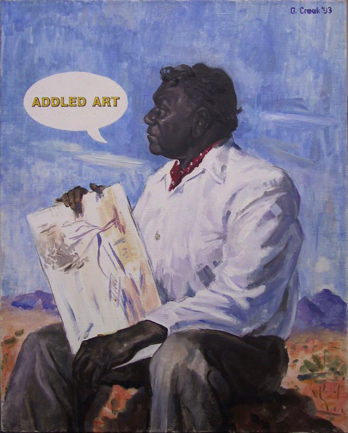 Addled Art,  oil on linen 75.0 x 65.0cm (variation after Lionel Lindsay and William Dargie)