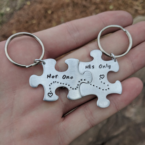Personalized Couples Gift - Her One, His Only Puzzle Piece Keychains - Set  of Two