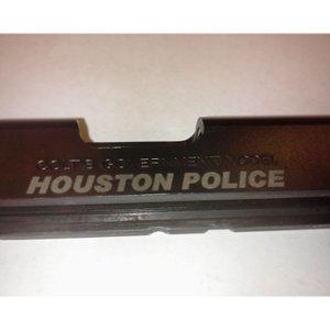 Engraved Houston Police Pistol Slide